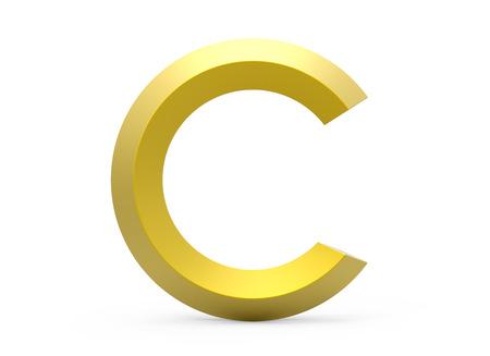 3D render gouden afgeschuind alfabet C, retro 3D-lettertype ontwerp