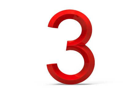 3 D レンダラ ・赤ベベル ナンバー 3、レトロな 3 D 図設計