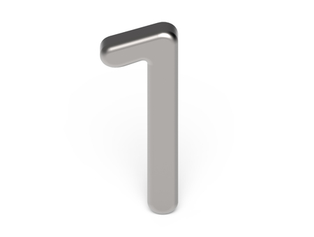 3D render metallic number 1, thin and glossy silver 3D figure design