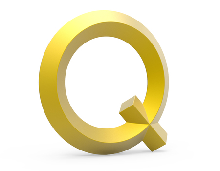 3D render golden beveled alphabet Q, retro 3D font design