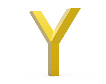 3D render golden beveled alphabet Y, retro 3D font design