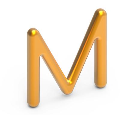 3D render metallic alphabet M, thin and glossy golden 3D font design Фото со стока