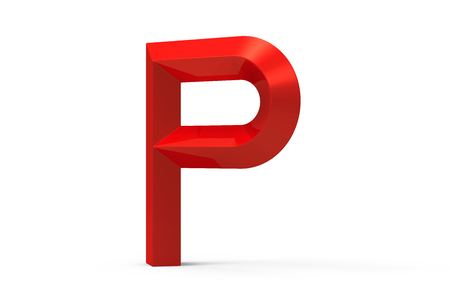 3D render red beveled alphabet P, retro 3D font design