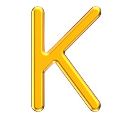 3D render metallic alphabet K, thin and glossy golden 3D font design Reklamní fotografie