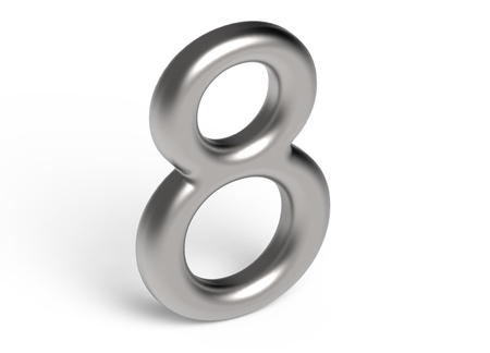 3D render metallic number 8, thin and glossy silver 3D figure design