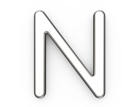 3D render metallic alfabet N, dunne en glanzende platina 3D-lettertype ontwerp