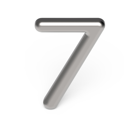3D render metallic number 7, thin and glossy silver 3D figure design Stock Photo
