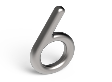 3D render metallic number 6, thin and glossy silver 3D figure design
