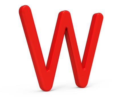 3D übertragen rotes Alphabet W, dünnes und plastisches Textdesign der Beschaffenheit 3D Standard-Bild - 88748078