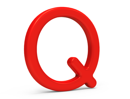 3D render red alphabet Q, thin and plastic texture 3D font design