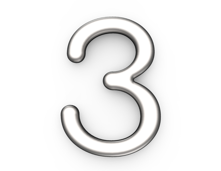 3D render metallic nummer 3, dun en glanzend platina 3D-figuur ontwerp