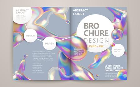 추상 브로슈어 디자인, 흰색 원 공간, 홀로그램 스타일 액체 거품 요소를 흐르는