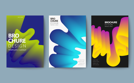 Abstract brochure design set, colorful flowing fluid in holographic style, poster design Ilustracja
