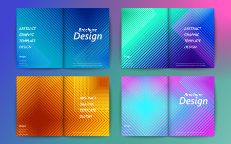 Set of abstract brochure design, colorful geometric stripes pattern Illustration