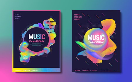 Abstract brochure design set, party all night poster with colorful fluid and geometric elements