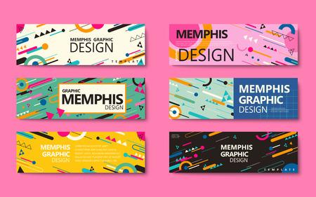Collezione di banner stile Memphis, elementi geometrici colorati isolati su sfondo rosa Archivio Fotografico - 88682354