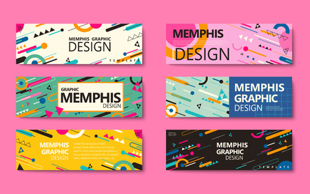 Memphis style banner collection, colorful geometric elements isolated on pink background Illustration