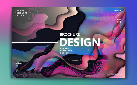 Abstract brochure design, colorful flowing wavy liquid decoration in holographic style