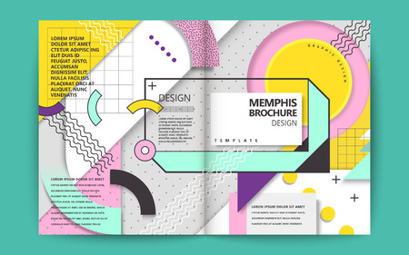 Memphis style brochure, colorful and lovely geometric elements