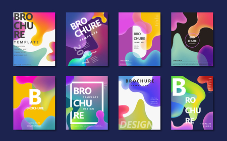 Abstract brochure design, colorful flowing liquid decoration in holographic style