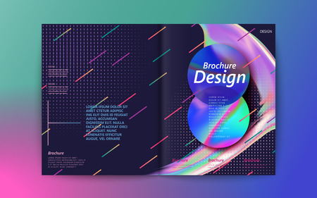 Design de brochura abstrata, fluindo bolha líquida e elementos geométricos coloridos sobre fundo roxo, estilo holográfico Foto de archivo - 88682360