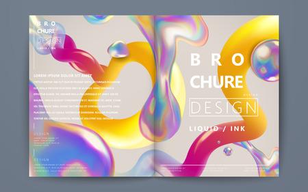 액체 브로셔 및 베이지 색 배경, 홀로그램 스타일에 다채로운 요소를 흐르는 추상 브로셔 디자인