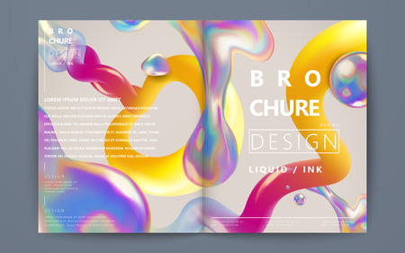 Abstract brochure design, flowing liquid bubble and colorful elements on beige background, holographic style