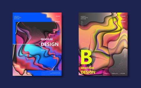 抽象的なパンフレットのデザイン設定、カラフルなホログラフィック スタイルにウェーブのかかった液体装飾を流れる