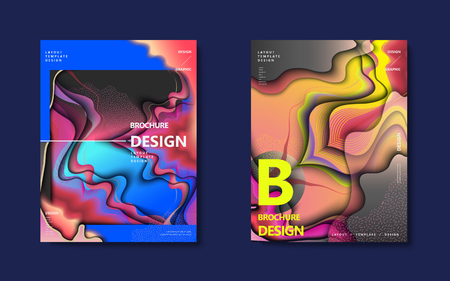 Abstract brochure design set, colorful flowing wavy liquid decoration in holographic style