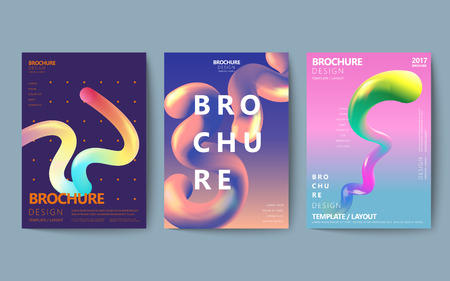 Abstract brochure design set, colorful flowing fluid in holographic style, poster design Illustration