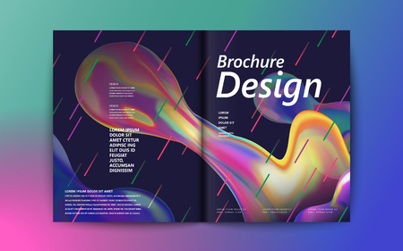 Abstract brochure design, flowing liquid bubble and colorful geometric elements on purple background, holographic style
