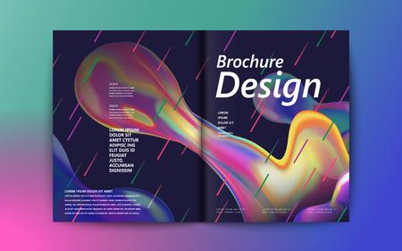 Abstract brochureontwerp, stromende vloeibare bel en kleurrijke geometrische elementen op purpere achtergrond, holografische stijl