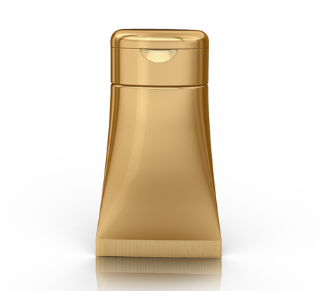 3D render facial cleanser mockup, face wash container tube template in golden color Banco de Imagens