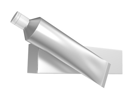 Blank toothpaste mockup, floating paste tube with paper box in 3d render in silver