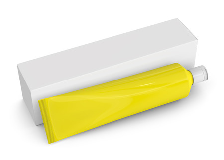 Toothpaste package mockup, blank yellow tube with paper box in 3d render Stock Photo