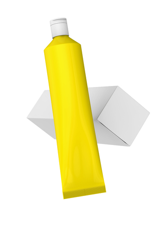 Blank toothpaste mockup, floating paste tube with paper box in 3d render in yellow