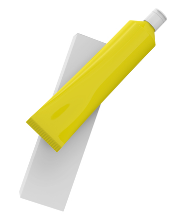 Toothpaste package mockup, blank yellow tube with paper box floating in the air in 3d render