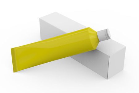 Blank toothpaste mockup, paste tube with paper box in 3d render in yellow
