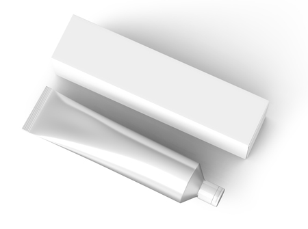 Toothpaste package mockup, top view of blank silver tube with paper box in 3d render