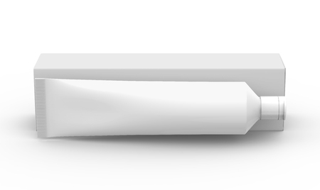 Blank toothpaste mockup, floating paste tube with paper box in 3d render