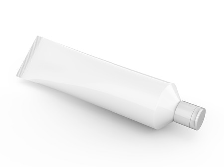 Toothpaste package mockup, blank white tube in 3d render