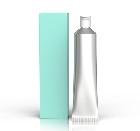 Blank toothpaste mockup, stand paste tube with paper box in 3d render, turquoise tone
