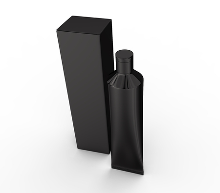 Blank toothpaste mockup, stand paste tube with paper box in 3d render in black, elevated view