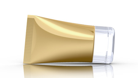 3D render facial cleanser mockup, face wash container tube template in golden color Stock Photo