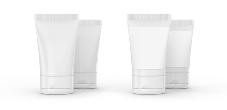 3D render facial cleanser mockup, face wash container tube template in white, some with blank label