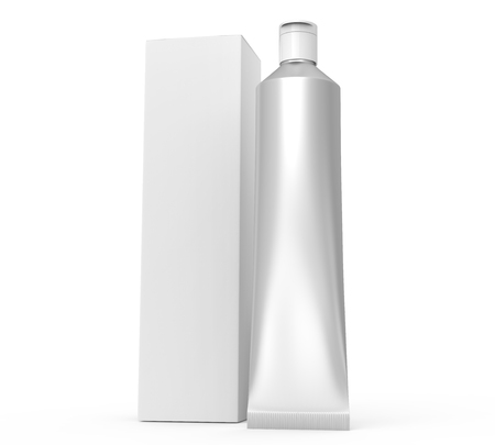 Blank toothpaste mockup, stand silver paste tube with paper box in 3d render