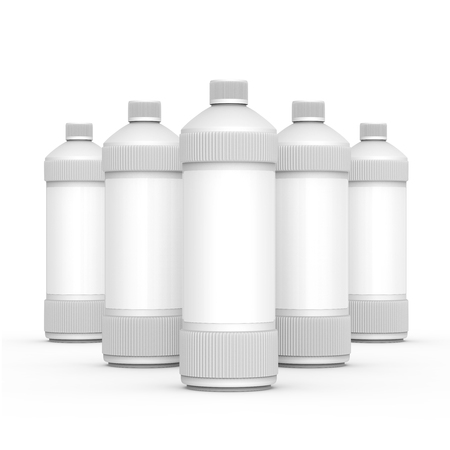 Blank detergent bottle, 3d rendering drain cleaner container mockup with label for design uses