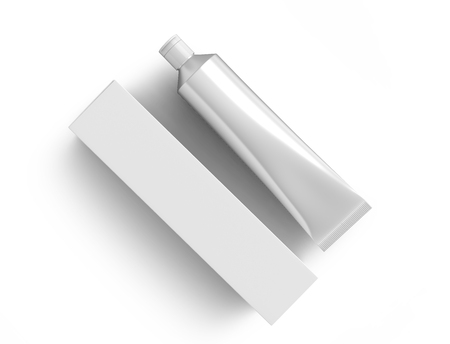Blank toothpaste mockup, paste tube with paper box in 3d render in silver Stockfoto