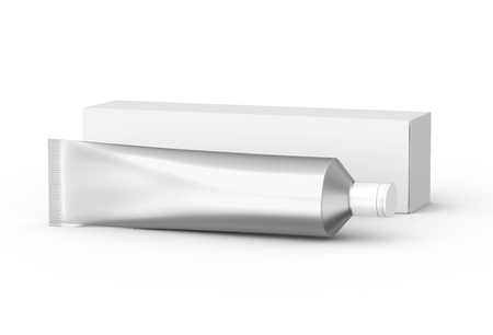 Toothpaste package mockup, blank silver tube with paper box in 3d render