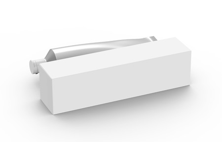 Blank toothpaste mockup, paste tube with paper box in 3d render in silver Stock fotó